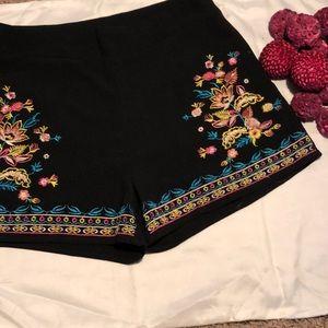 black flower printed shorts